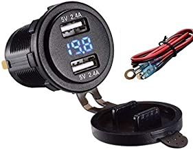 4.8 AMPS Fast Dual USB Socket Waterproof Charger W/Voltmeter, 23.5 in. Wire & Inline 10A Fuse for Extra Protecion. for Polaris RZR, RV, Can Am Maverick, Can AM, Golf Cart, Jeep (4.8A Blue w/V-Me