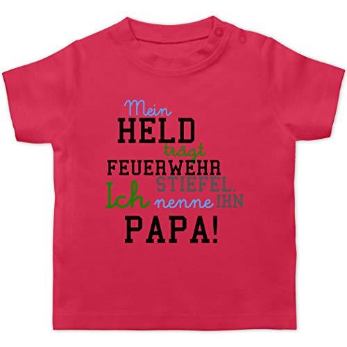 Feuerwehr Baby - Mein Held Papa Feuerwehr Junge - 12/18 Monate - Fuchsia - babyshirt Feuerwehr Papa - BZ02 - Baby T-Shirt Kurzarm
