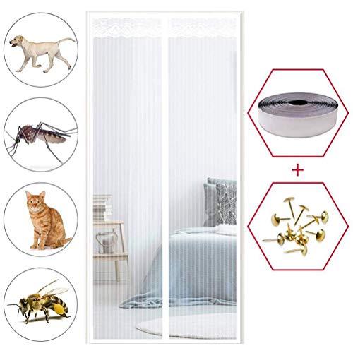 HHJJ Ventilación antimosquitos y antimoscas y fácil de instalar, anti mosquitos, mosquitos, puerta magnética, puertas de excelente calidad, 128707A1W1R (color: blanco, tamaño: 95 x 205 cm)
