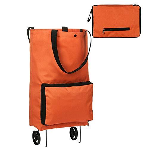 LYPULIGHT Tragbare Einkaufstasche mit Rollen, hohe Kapazität, Einkaufstasche mit Griff Orange