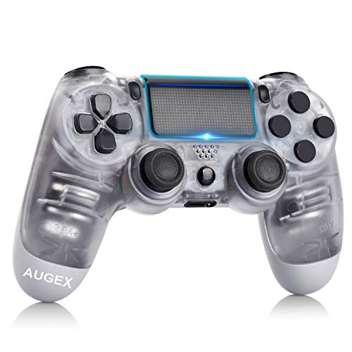 AUGEX Gamepad compatiable for PS4, Wireless Controller Work with PS 4,with Dual Vibration/Stereo Headset Jack/Touch Pad/Six-axis Motion Control,Compatible with PS4/Slim/Pro Console (White)