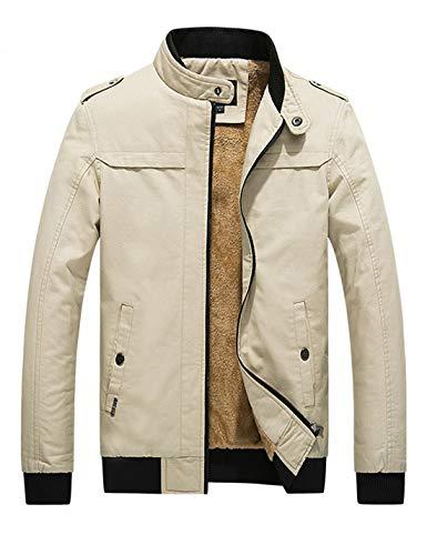 D.B.M Men's Winter Plus Velvet Thickening Collar Cotton Windbreaker Jacket (Medium, Light-Khaki)