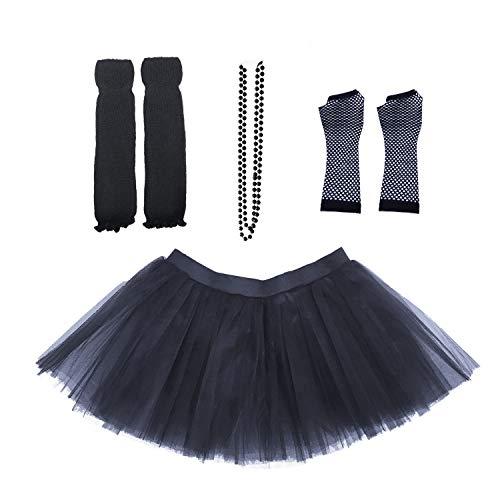 Dreamdanceworks 80s Fancy Costume Set - TUTU & LEG WARMERS & FISHNET GLOVES & BEADS (Black) - http://coolthings.us