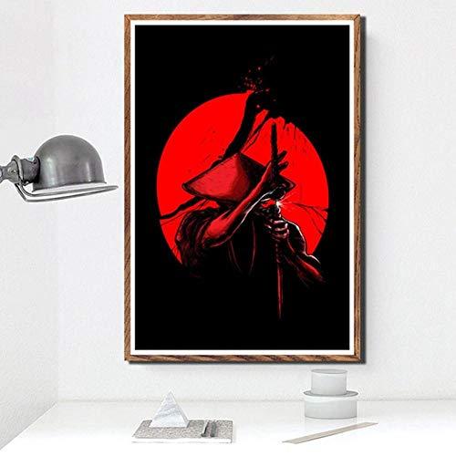 YWOHP Impreso Modular Imagen Arte de la Pared Poster Samurai Bushido Japonés Moderno Anime HD Wallpaper Estilo nórdico Pintura de la Lona Decoración para el hogar 50x70cm Sin Marco