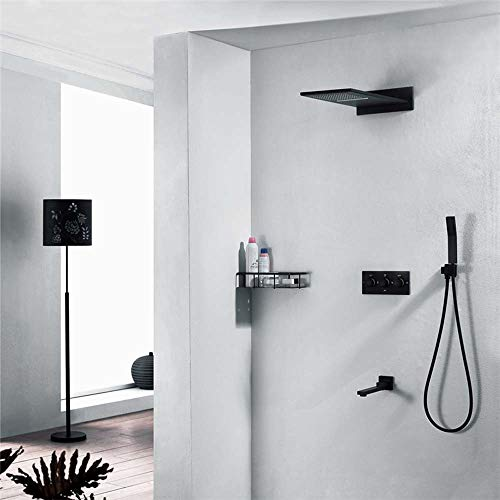 Great Features Of Hot and Cold Flying Rain Lift Bar Shower Set Four Functions Plated Dark Shower Spr...