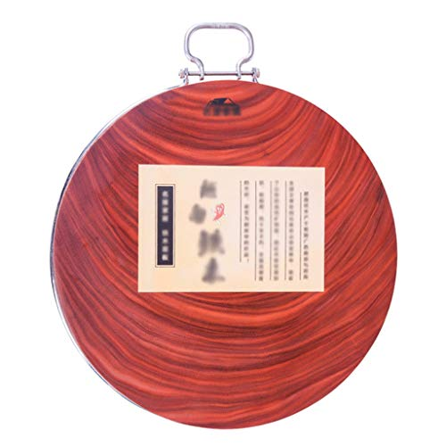 DSISI Solid Wood Cutting Board Kitchen Home Authentic Iron Wood Whole Wood Round Chopping Block with Handle Best Kitchen Chopping Board for Meat (Butcher Block) Cheese and Vegetables (Size : 436cm)