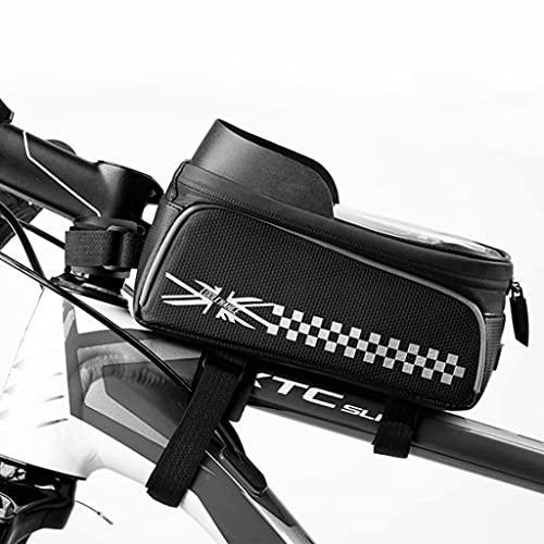 YZX Bolsa Bici, Marco Frontal para Ciclismo de montaña/Carretera al Aire Libre y Bolsa para sillín de Tubo Superior, Sombreado Impermeable TPU Pantalla táctil Bolsa para teléfono de Bicicleta,#B