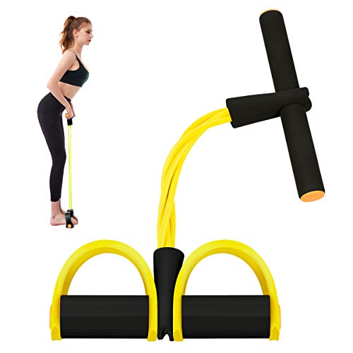 Segorts Pedal Resistance Band - Fitness Elastic Pull Rope -Super Light 4-Tube Natural Latex Fitness Equipment for Abdomen,Waist,Arm,Leg Training - Home Wrokout Sit-Up Multi-Function Tension Rope
