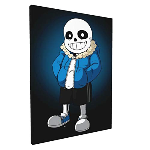 Sans Undertale Painting Wall Art Canvas Pictures Artwork Wall Art for Bedroom Living Room Bathroom Decoration Framed Ready to Hang 12 x 16 Inch
