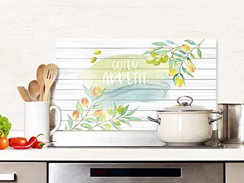 GRAZDesign Spritzschutz Küche Glas Spruch Guten Appetit mit Zitronen, Küchenrückwand Herd, Glasplatte / 80x60cm