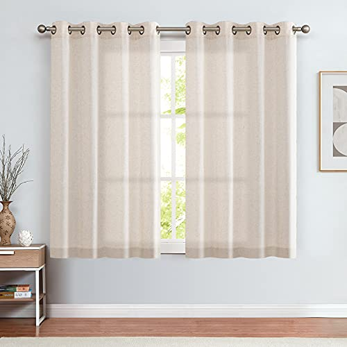 jinchan Linen Textured Curtains for Living Room Grommet Top Window Treatment Set for Bedroom 2 Panels 45 inches Long Crude