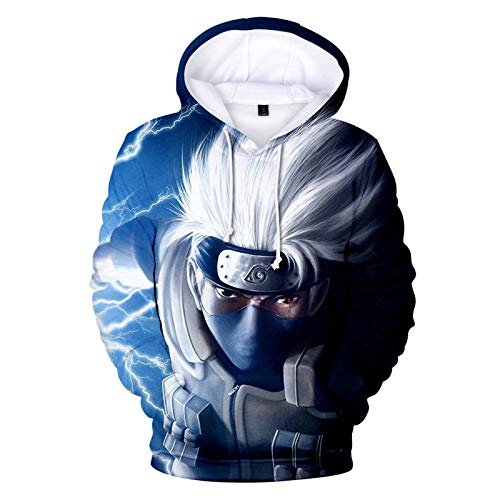 Naruto Anime Sudadera con capucha impresa 3D Kakashi Cosplay Disfraz Abrigo Sudaderas Pullover Ropa Deportiva Ligero Casual Ropa de calle