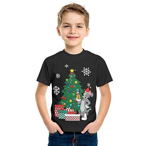 Camiseta para niño con diseño de gato y ratón alrededor del árbol de Navidad con cuello redondo