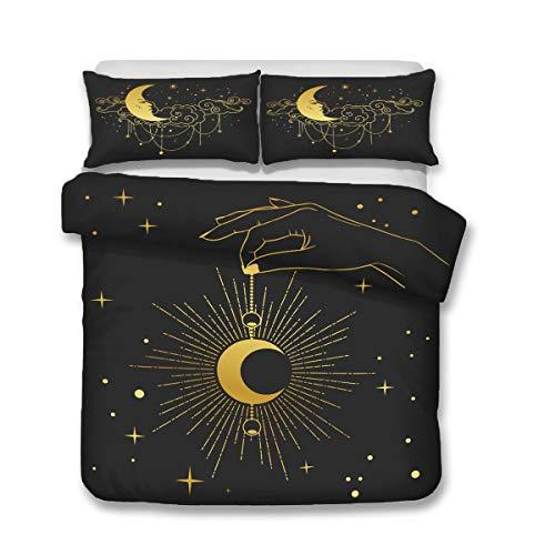 QWAS Juego de ropa de cama de 3 piezas, diseño de sol y luna, tamaño individual, doble y king (A2, 140 x 210 cm + 50 x 75 cm x 2)
