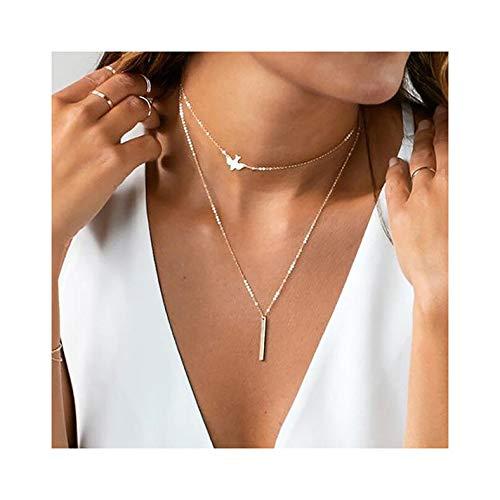 IYOU mehrlagige Halskette mit Goldbarren-Anhänger, Halskette mit Vogel-Anhänger, Schmuck für Frauen und Mädchen