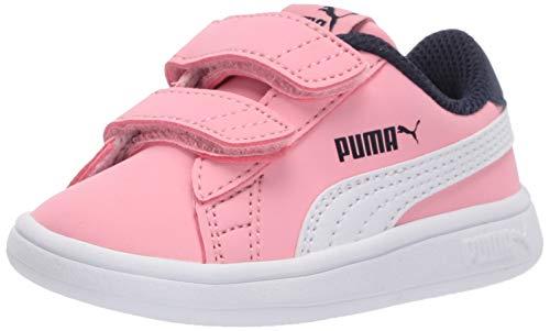 PUMA baby boys Puma Smash 2 Hook and Loop Sneaker, Peony-puma White-peacoat, Little Kid US