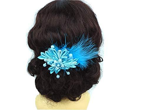 Haarschmuck in Türkis mit Perlen und Federn Haarblume Haarblüte Haare Haarspange Feste Abi Ball Geschenk