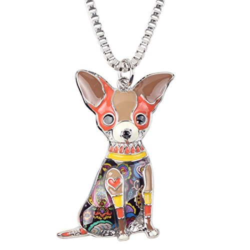BONSNY Love Pets Enamel Zinc Alloy Metal Chihuahua Necklace Dog Animal Pendant 18' (Brown)
