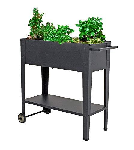 Spetebo Metall Hochbeet fahrbar 75x35x80 cm - Mobiler Pflanzkasten mit Ablage und Rollen - Fahrbares Garten Pflanzbeet Gemüse Beet Kräuterbeet