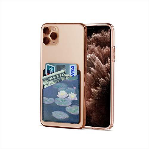 Bolsillo para tarjetas de crédito, ultradelgado Claude Monet Impresionism Water Lirios de Noche Efecto Stick On Wallet Iphone & Android Smartphone Card Case Holder Tarjeta de Visita, tarjetero