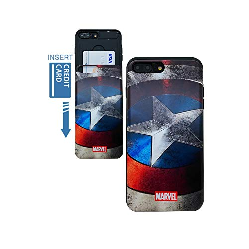 [iPhone 7 Plus Wallet Case/iPhone 8 Plus Wallet Case] KUBRICK Card Holder Slide Cover Bumper Phone Case Dual Layer Protection Comics Super Hero UV Printing (Vibranium Shield)