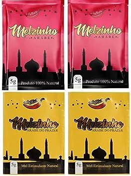 Kit - 2 melzinho árabe do prazer feminino 5g + 2 melzinho árabe do prazer mel natural unissex 5g