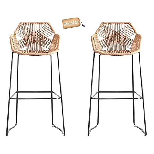 Rattan Bar Stool Set of 2 Home Beige Wicker Barstools Chair with Footrest & Back, Black Metal Base, for Kitchen Breakfast Café Pub Counter Height Stools (Height 75cm / 29.5')