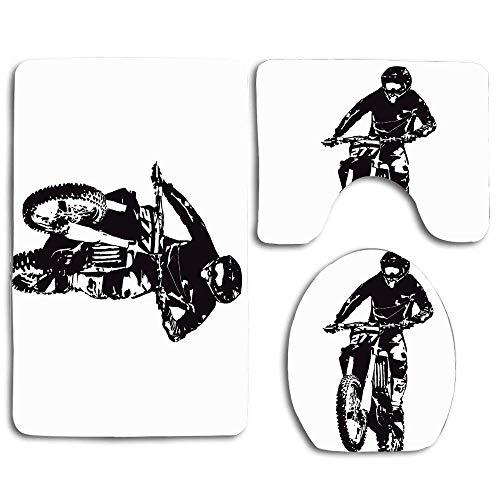 Active Motocross Power Sports Recreation Sport Race Action Bike Competition Dirt Motor Casco Jump Alfombra de baño Juego de 3 piezas, antideslizante Cubierta de asiento de inodoro Alfombra de baño Cub