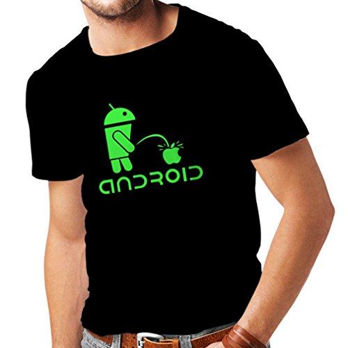 Camisetas Hombre el Divertido Robot y la Manzana - Citas Divertidas, Regalos humorísticos (Large Negro Verde)