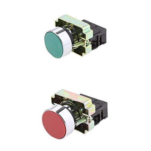 Almencla 2x Verde + Rojo 22mm Montaje en Panel Botón Pulsador Flecha de Contacto Arriba Abajo Inicio Parada