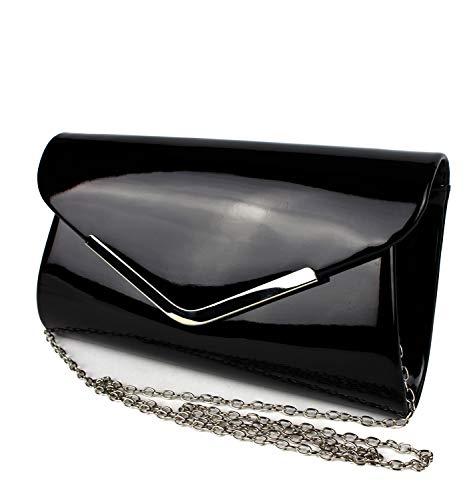 Schompi Bolso Tipo Clutch Para Mujer, Con Cadena De Hombro Desmontable, Charol, Color:Negro