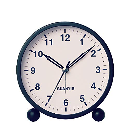Yangoo Niños Despertador Silencioso Relojes de Cama Luz Nocturna Música Despertador Lindo Mini Reloj de Viaje Despertador de Escritorio Silencioso Despertador Regalo para Niños Niñas,B