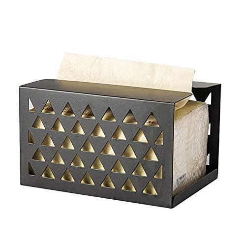 Daaimi Caja de pañuelos de hierro forjado para encimeras de tocador de baño, aparadores de dormitorio, mesas, escritorios y mesas (negro)