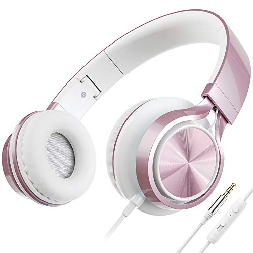 AILIHEN C8 Headphones with Microphone and Volume Control Folding Lightweight Headset for Cellphones Tablets Smartphones Laptop Computer PC Mp3/4 (Rose Gold)