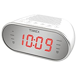 Timex Am/FM Dual Alarm Clock Radio with Digital Tuning 1.2 Red LED Display and Line-In Jack Radio Alarm Clock White (T2312W)