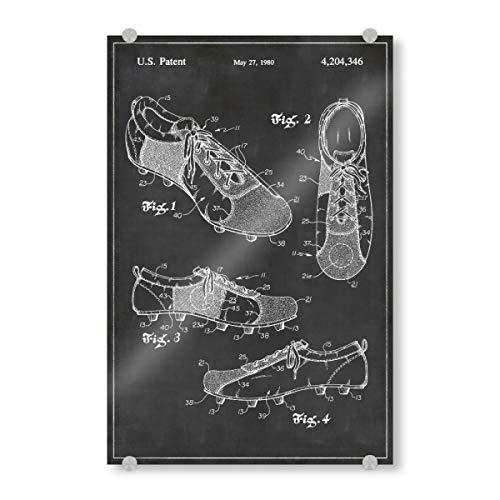 artboxONE Acrylglasbild 150x100 cm Schwarzweiß Fußballschuhe patent - Bild Fußballschuhe patent Vintage