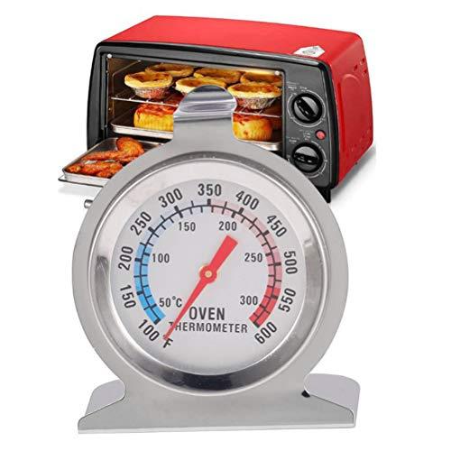 Comtervi roestvrijstalen thermometer met grote weergave, braadoven, oven, pizzaoven, houtoven, oventhermometer analoog en bimetaal