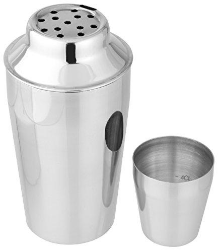 FACKELMANN Cocktailshaker 400 ml, Cocktail-Mixer aus Edelstahl, Schüttelbecher für Mixgetränke mit integriertem Sieb, Kappe mit Dosierangabe (Farbe: Silber), Menge: 1 Stück