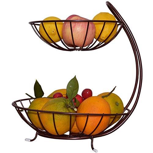 Frutero, encimera de metal de 2 niveles para almacenamiento de canastas de frutas, soporte de exhibición decorativo con funda de goma antideslizante para vegetales, bocadillos, pan, artículos para el