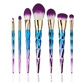 Elegante 7 Unids Colorido Cosmético Pincel de Sombra de Ojos Nylon Hair Makeup Brush Set Kits Herramientas Adecuados para Todo Tipo de Piel Gugutogo