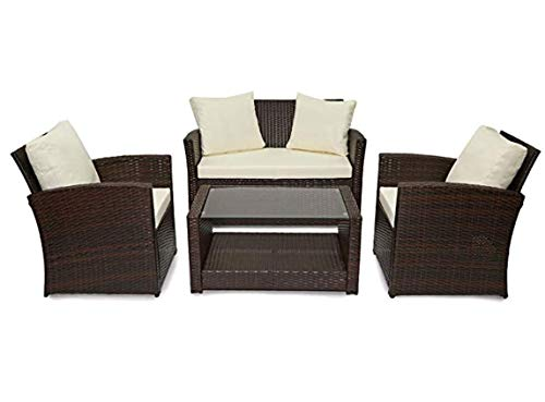 Evre Rattan Garden Outdoor Furniture Patio Roma Sofa Set (Brown With Premium Cover)