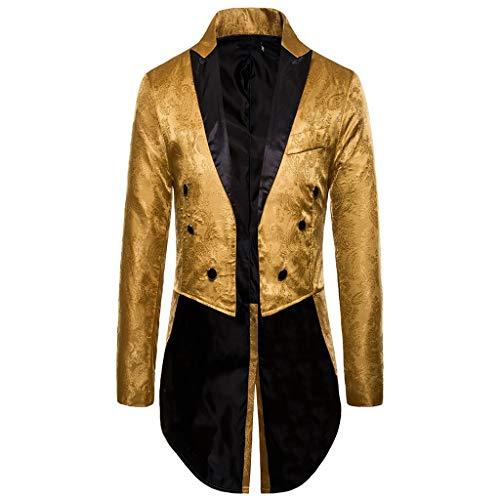 Fenverk Gotisch Viktorianisch Frack Steampunk VTG Mantel Jacke Halloween Cosplay Kostüm,Herren Gothic Jacke Vintage Viktorianischen Langer Kostüm Cosplay Kostüm Smoking Uniform(Gold,L)