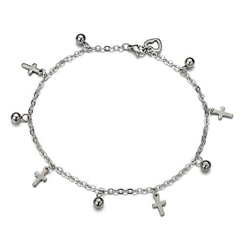 COOLSTEELANDBEYOND Acciaio Inossidabile Cavigliera da Donna con Croce e Perlina Charms