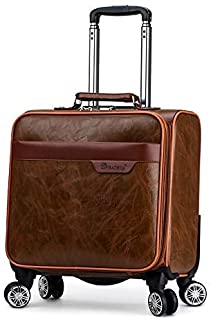 Trolley Case Bag 16 Inch Small Flight Suitcase Luxury Trolley Cabin Lightweight Laptop On Wheels Travel Luggage Carry-Ons (Color : Brown)