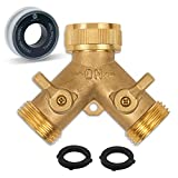 Morvat Heavy Duty Brass Garden Hose Connector Tap Splitter (2 Way) – New and Improved - Outlet Splitter, Hose Splitter, Hose Spigot Adapter with 2 Valves, Plus 2 Rubber Washers & Tape