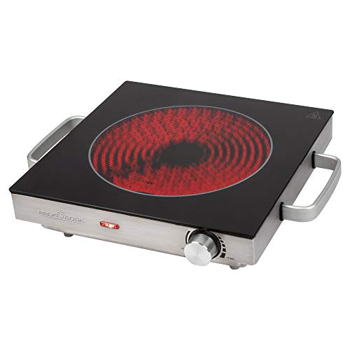 ProfiCook PC-EKP 1210 - Cocina de infrarrojos individual (apta para todo tipo de ollas, vitrocerámica, 2000 W, carcasa de acero inoxidable)