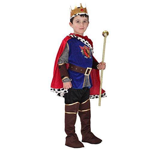 IPOTCH Costume da Re Medievale per Bambini Ragazzi Arthur Princess Costume di Halloween - M