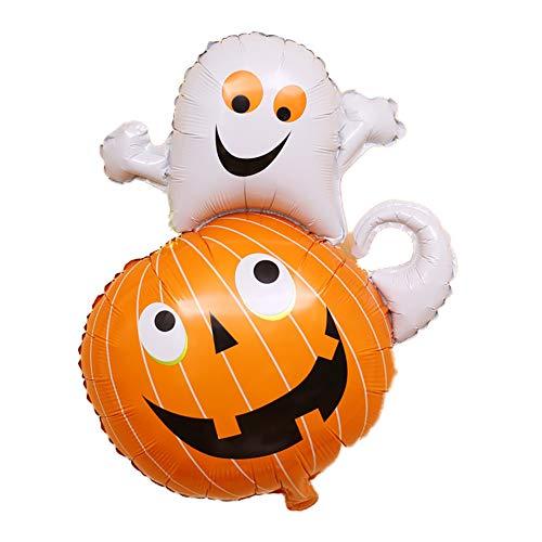 Newin Star Decoraciones colgantes de Halloween Globos de papel de aluminio Calabaza de bruja Calavera Cat Globos Fuentes de fiesta (1 Pieza de fantasma de calabaza)
