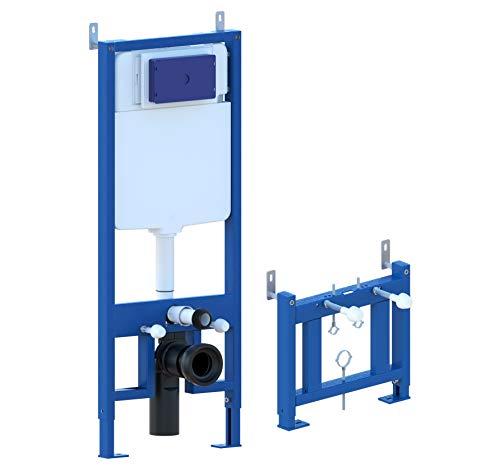 Bastidor de soporte para bide, bastidores de soporte con cisterna oculta para inodoro completo de pulsador de acero inoxidable para sanitarios suspendidos PRODUCTO (GIO.50 + GIO.52)