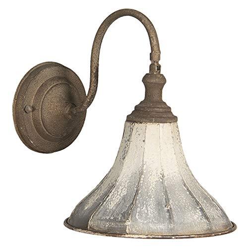 Clayre & Eef 6LMP679 - Lampada da parete in ferro bianco